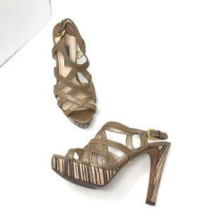 Prada sandal heels size 37 beige brown Italy